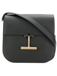Tom Ford 'T' Buckle Shoulder Bag Women Cotton Calf Leather Polyester One Size Black