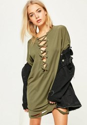 Missguided Khaki Lace Up Distressed T Shirt Dress