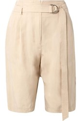 Sally Lapointe Belted Crepe Shorts Beige