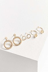 Urban Outfitters Spinning Circles Post Hoop Earring Set Gold