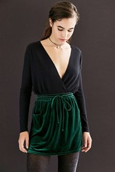 Silence And Noise Velvet Tie Waist Mini Skirt Dark Green