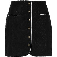 River Island Womens Black Button Front Lace Mini Skirt