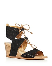Dolce Vita Langly Perforated Lace Up Cork Wedge Sandals Black