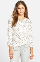 Petite Women's Nydj Henley Blouse White Feather Leaves