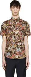 Valentino Multicolor Butterfly Button Up Shirt
