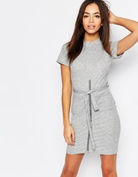 Daisy Street Short Sleeve Bodycon Dress With Zip And Tie Front Grey