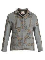 By Walid Haya Embroidered Linen Jacket Grey