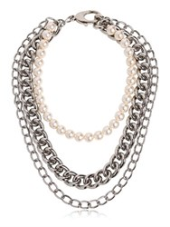 Moschino Chain And Imitation Pearls Necklace