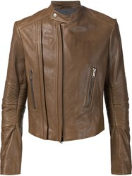 Haider Ackermann Ribbed Sleeve Biker Jacket Brown