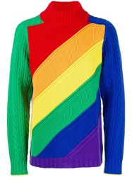 Burberry Rainbow Wool Cashmere Sweater Red