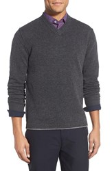 Men's Descendant Of Thieves 'Charcoal Cross' Slim Fit V Neck Wool Sweater