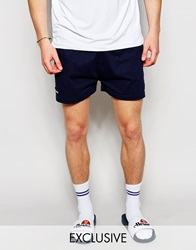 Ellesse Retro Jersey Shorts With Taping Navy
