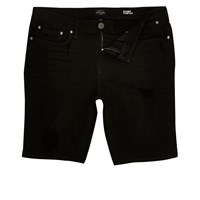 River Island Mens Black Distressed Skinny Denim Shorts