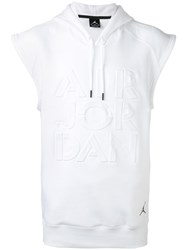 Nike Sleeveless Hoodie Men Cotton Polyester L White