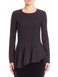 Akris Punto Long Sleeve Asymmetrical Peplum Top Black