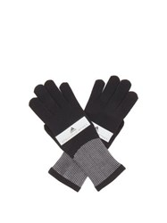 Adidas By Stella Mccartney Logo Print Knitted Running Gloves Black