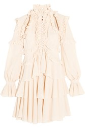 Alexander Mcqueen Tiered Ruffled Silk Georgette Mini Dress Pastel Pink