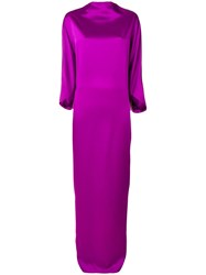 Chalayan Draped Boat Neck Dress Pink And Purple