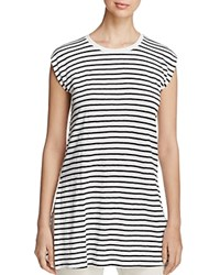 Eileen Fisher Striped Organic Linen Round Neck Tunic White Black