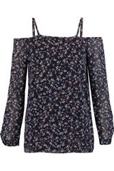 Bailey 44 Cutout Floral Print Chiffon Top Navy