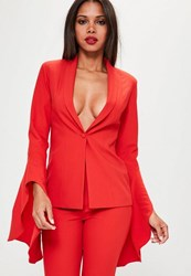 Missguided Red Asymmetric Draped Frill Sleeve Blazer