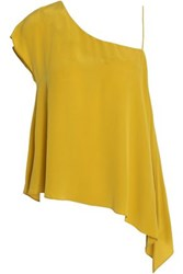 Charli One Shoulder Draped Silk Top Gold