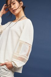 Anthropologie Sia Embroidered Peasant Top Ivory
