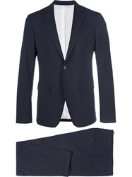 Dsquared2 Manchester Suit Cotton Polyester Spandex Elastane Virgin Wool Blue