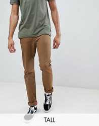Ted Baker Tall Slim Fit Chinos With Pocket Detail In Camel Brown