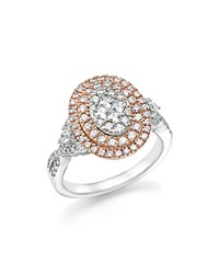 Bloomingdale's Diamond Cluster Statement Ring In 14K White And Rose Gold 1.0 Ct. T.W. White Rose