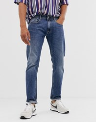 Replay Rob Straight Tapered Fit Jeans In Mid Wash Blue
