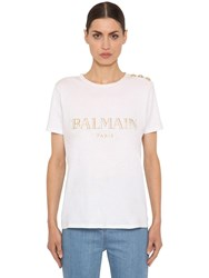Balmain Logo Printed Cotton Jersey T Shirt White