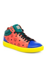 Mcm Viseto Colorblock Leather Logo Sneakers Red Multi