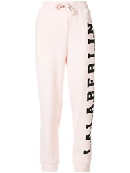 Lala Berlin Logo Print Track Trousers Cotton Pink Purple