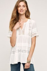 Anthropologie Tiered Lace Tunic White