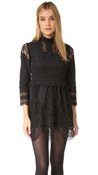 Anna Sui Victorian Embroidered Lace Tunic Dress Black