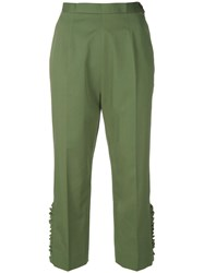 I'm Isola Marras Cropped Ruffle Trousers Green