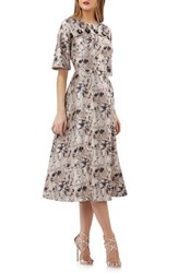 Kay Unger Flower Button Fit And Flare Midi Dress Champagne Multi