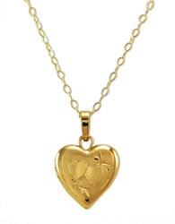 Lord And Taylor 14K Gold Small Heart Locket Necklace 14K Yellow Gold