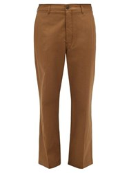 Christophe Lemaire Straight Leg Cotton Chino Trousers Brown
