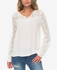 Roxy Juniors' Crocheted Top Natural