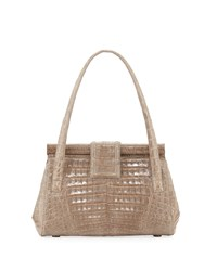 Nancy Gonzalez Crocodile Satchel Bag Gray