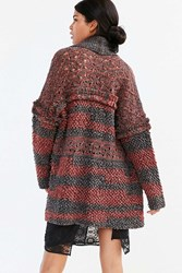 Ecote Fringe Open Cardigan Red Multi