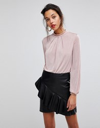 Morgan High Neck Blouse With Lace Back Detail Pink