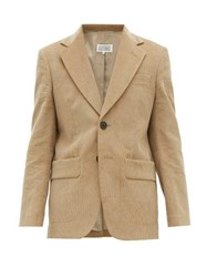 Maison Martin Margiela Single Breasted Cotton Corduroy Suit Beige