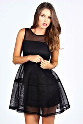 Boohoo Lantern Net Dress Black