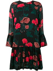 Ganni Floral Print Drop Hem Dress Black