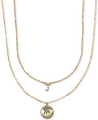 Ivanka Trump Gold Tone 2 Pc. Set Initial And Disc Pendant Necklaces Crystal J