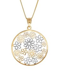 Lord And Taylor 14K Yellow Gold Flowers In Circle On Box Necklace