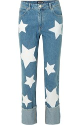 House Of Holland Printed High Rise Straight Leg Jeans Blue
